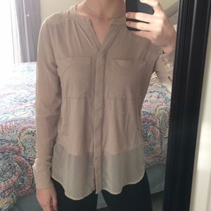 Ann Taylor Long Sleeve Sheer Button Up Blouse